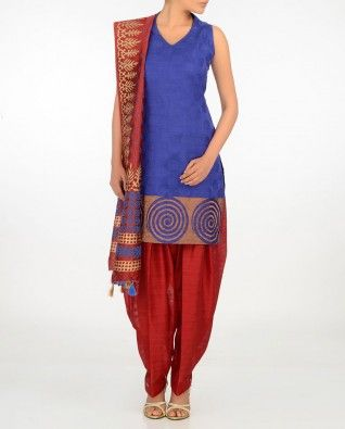 #Exclusivelyin, #IndianEthnicWear, #IndianWear, #Fashion, Royal Blue Suit with Woven Patterns