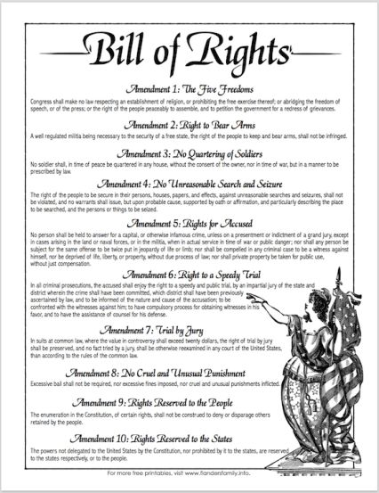 Free printable copy of the Bill of Rights, from www.flandersfamily.info