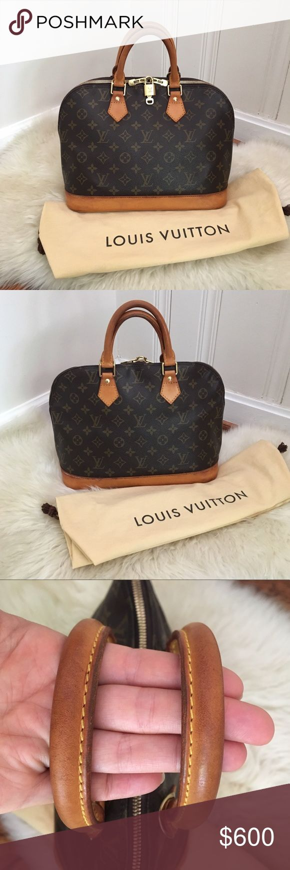 Authentic Louis Vuitton Alma PM Made November 1996 in France. I have conditioned the leather and polished the hardware. Monogram canvas is in perfect condition. Interior is clean with only a couple of small spots. Handles have darkened some. Some discoloration along the bottom leather boarder and underside of bag. Doesn't really take away from the beautiful honey patina. I'm not a professional, but I have sealed the micro cracks on the corners of the base of the bag. Dust cover, lock, and…