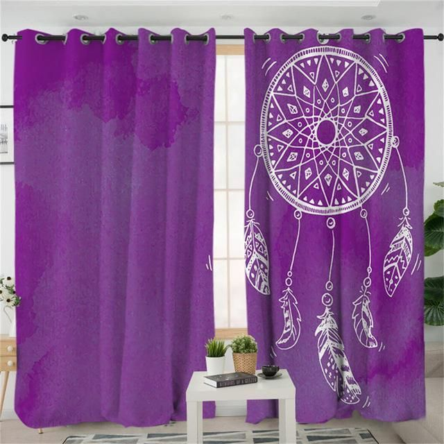 Dreamcatcher Living Room Curtains Watercolor Blue Pink Purple Curtain My Bedroom 3 Curtains Living Room Purple Curtains Purple Curtains Bedroom