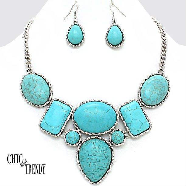 WESTERN TURQUOISE SIMULATED STONE CHUNKY JEWELRY SET CHIC & TRENDY ACCESSORIES #Unbranded