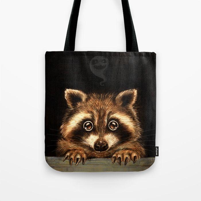 Cute Halloween raccoon Behind you Tote Bag by Patrizia Ambrosini | Society6