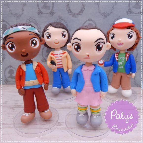 Kit 4 Miniaturas Stranger Things (Eleven, Mike, Dustin e Lucas) - Festa Geek - Paty's Biscuit