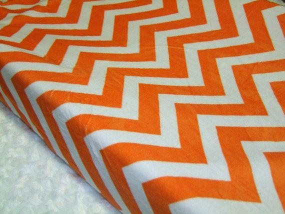 Orange Minky Chevron Changing Pad Cover by tarascozycreations