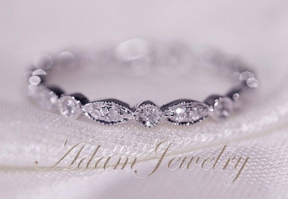 Art Deco Full Eternity Band 14k White Gold Wedding Ring Pave Diamonds Wedding Ring/ Promise Ring/ Engagement Ring/ Matching Band