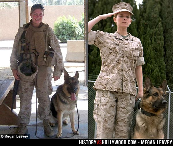 The real Marine Corporal Megan Leavey and her military working dog Rex. At right, Kate Mara in the movie. Learn more about the real story and the real German Shepherd who inspired it: http://www.historyvshollywood.com/reelfaces/megan-leavey/