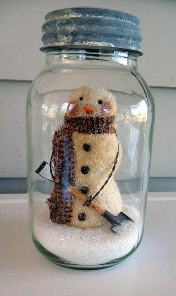 Primitive snowman tuck in a quart mason jar. Prim by ahlcoopedup, $22.95
