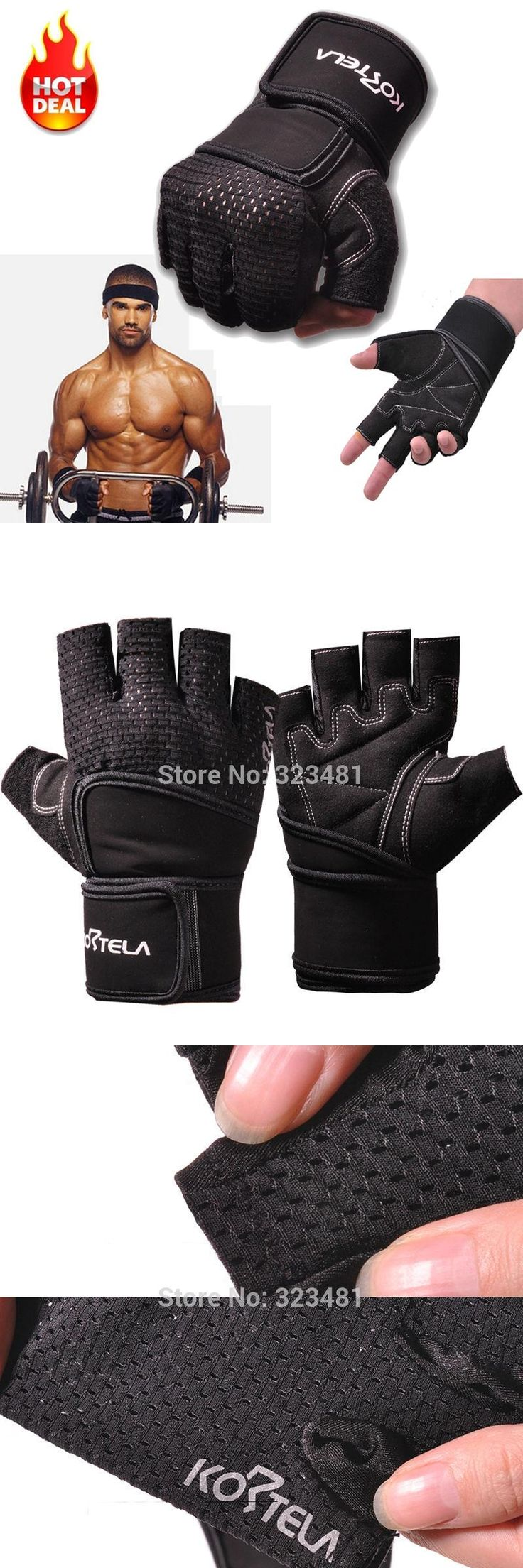 [Visit to Buy] KORTELA Body Building Gym Fitness Gloves women men with Long Belt Weightlifting Crossfit Gloves Barbell Dumbbell pesas gimnasio #Advertisement