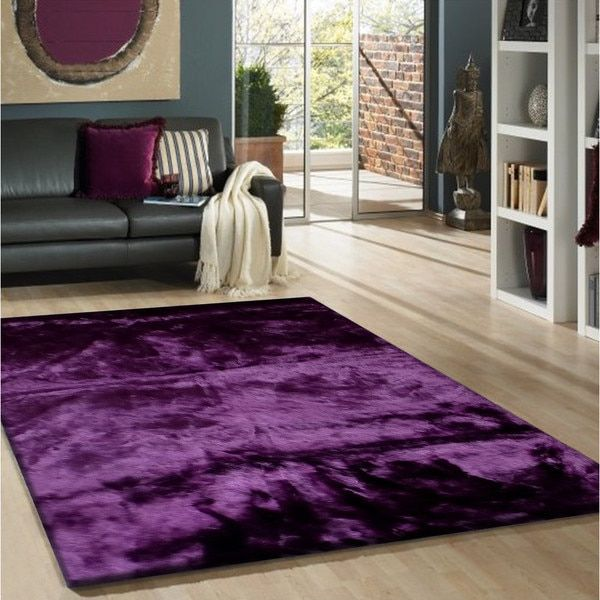 Purple Faux Fur Sheep Skin Shag Area Rug (5' x 7') | Overstock.com Shopping - The Best Deals on 5x8 - 6x9 Rugs