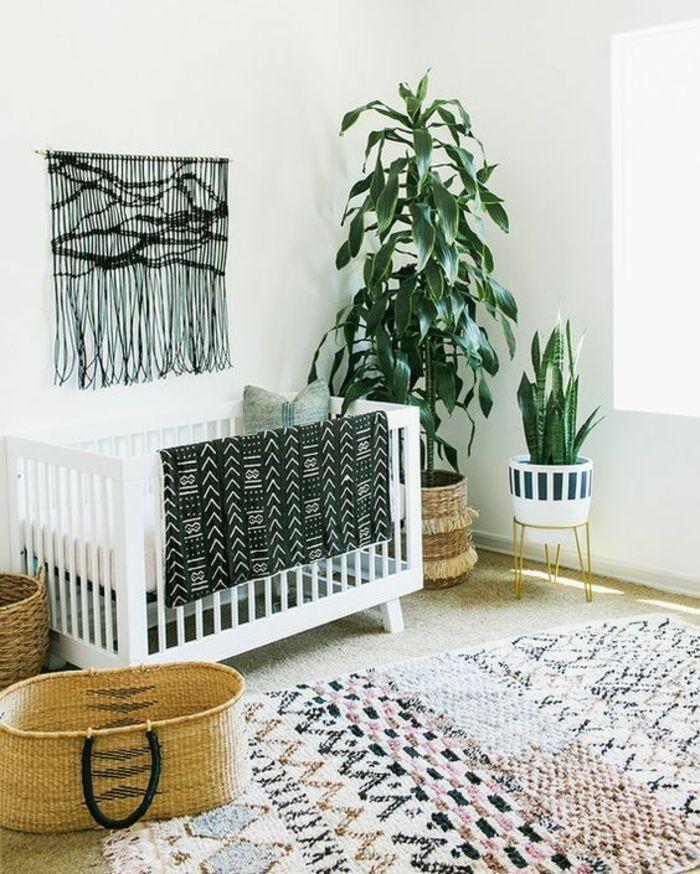 Bohème boho chic pépinière avec beaucoup de texture et de couleurs naturelles.   – Nursery Ideas