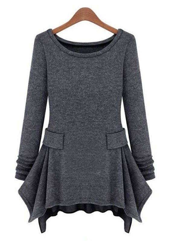 Dark Grey Long Sleeve Ruffles Pockets Cotton Blend Dress, I would wear leggings with this.....too cute