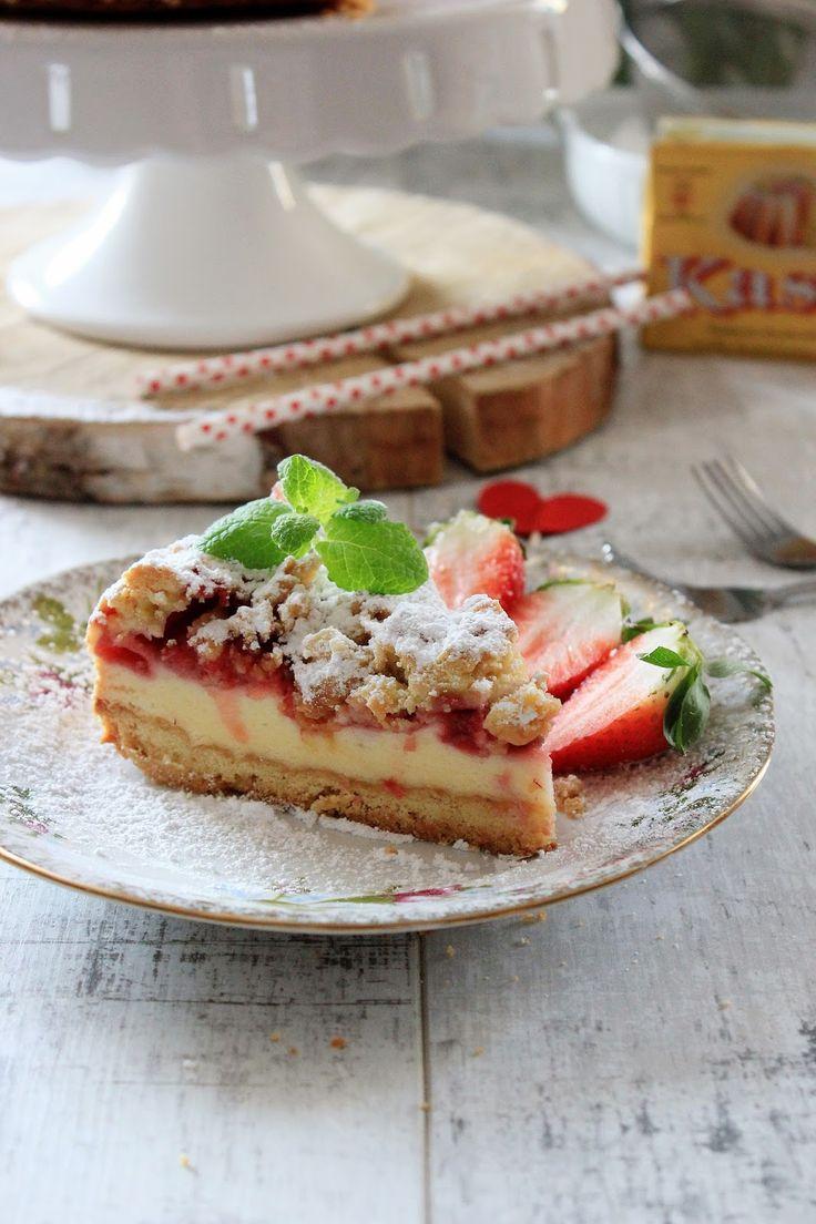 Kruche ciasto z truskawkami i budyniową pianką na Światowy Dzień Pieczenia z Kasią | Tysia Gotuje blog kulinarny