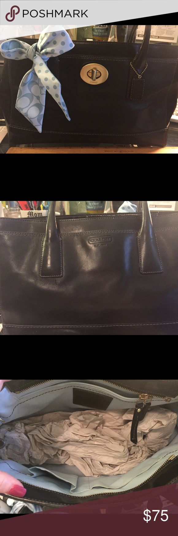Coach Handbag Used Black with Gold hardware Coach Tote/Satchel. Pale blue interior with scarf. An iPad 2 fits inside. Coach Bags Totes