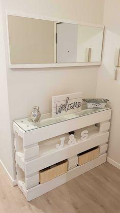 Recibidor de palets, espejo, leds decorativos   Br…