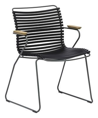 Click Armchair - Plastic & bamboo armrests Black by Houe