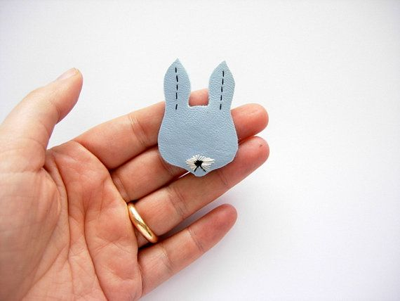 baby blue bunny pin in faux leather rabbit bunny by RachelaPiras