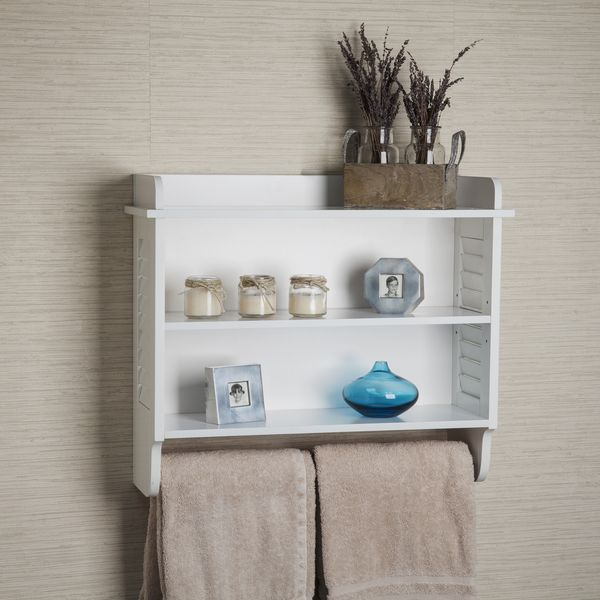 danya b white bath cabinet with adjustable shelf and towel bar by