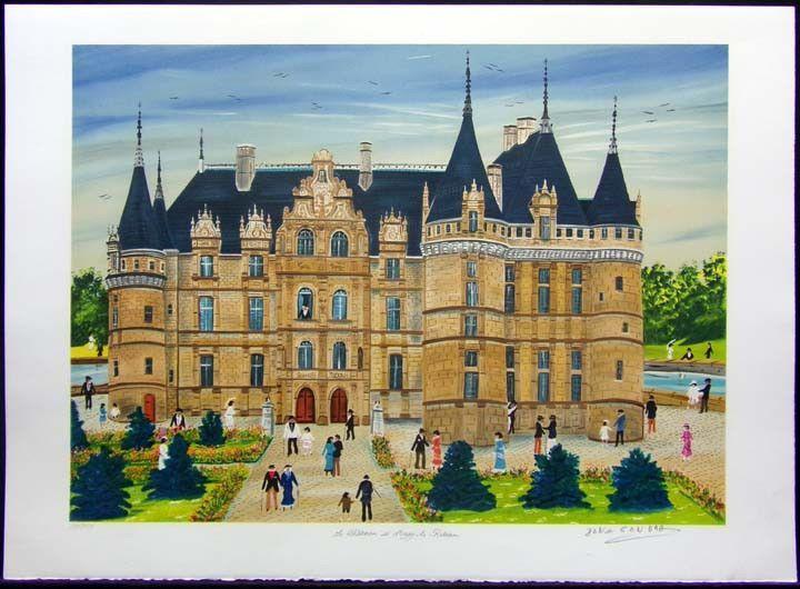 "Dan Gandre ""Le Chateau de d Azay-le Rideau"" Hand Signed on peper SUBMIT OFFER! #Realism"