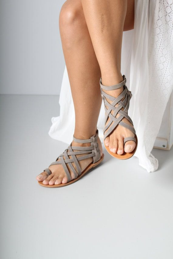 Handmade Greek Leather sandals, nubuck sandals, grey sandals, criss-cross sandals, flat shoes, womens sandals, Penelope, cafe sandals