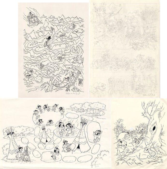 Van Den Bosch Wilma - 4 Originele tekeningen voor stripblad Disneyland - Winnie de Poeh Hiawatha en andere Disney figuren  Originele tekeningen in potlood en inkt van Wilma van den Bosch voor het stripblad Disneyland!1. Winnie de Poeh Formaat: 32.5 x 26 cm.Gesigneerd!2. HiawathaFormaat: 28.5 x 45.5 cm.Gesigneerd!3. De Zware JongensFormaat: 32 x 24 cm.Gesigneerd!4. Pagina schets in potlood.Formaat: 42 x 29.5Gesigneerd!Wordt aangetekend verzonden in stevige verpakking.(totaal 4)  EUR 1.00…