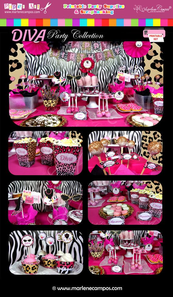 PRINTABLE- Diva Birthday Party, Full Collection - Personalized - Printable Party Package - Party Set - Custom - Paper Art by Marlene Campos