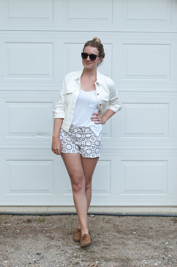 White Summer Outfit with Boat Shoes