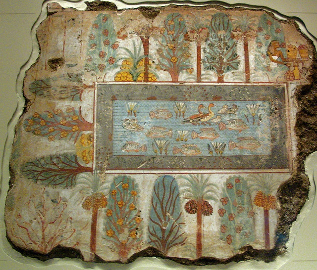 Garden Pool Fragment of wall painting from the tomb of Nebamun    Fragment Of A Wall Painting From The Tomb Of Nebamun