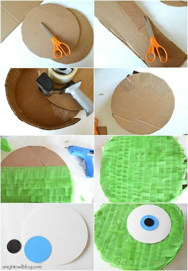 How to make a DIY Mike Wazowski Pinata | #diy #pinata #party - great for a basic circle pinata tutorial, as well as a cute Mike Wazowski modification!