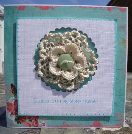 hand crafted card with crochet flower centre