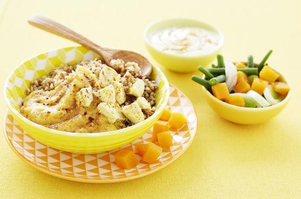 Curry de blé à la vapeur et petits légumes