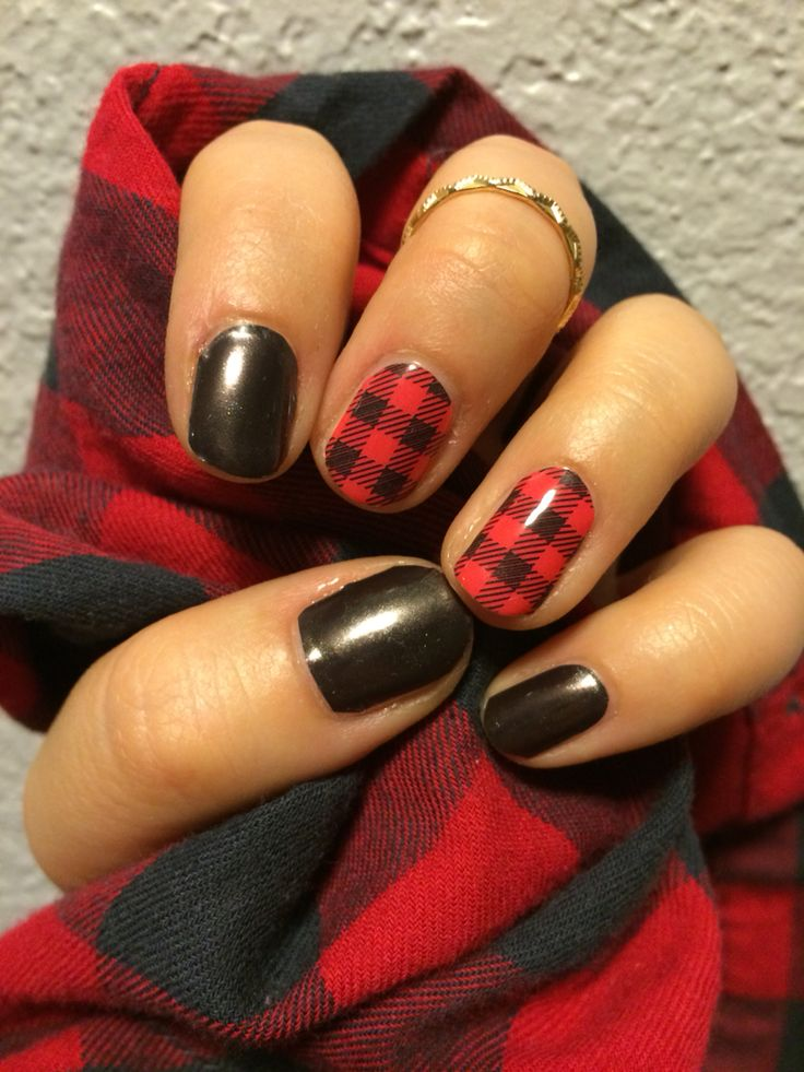Falling in love with Jamberry's Friday Flannel and Tungsten! Find these nail wraps at lmichshelton.jamberry.com!