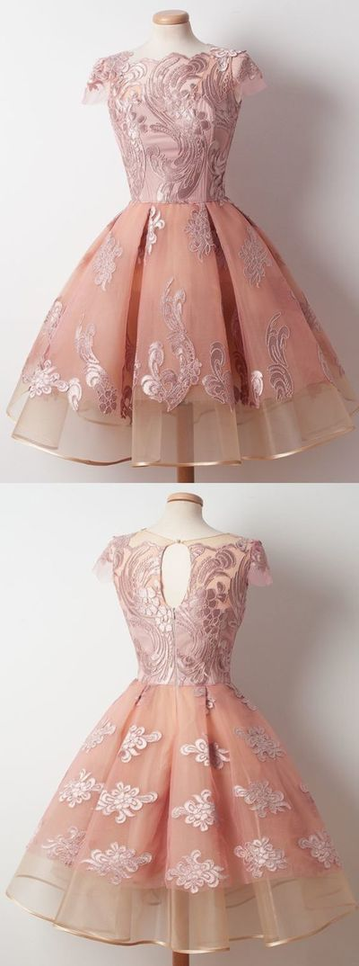 A-Line Bateau Knee-Length Cap Sleeves Pink Organza Homecoming Dress with Appliques,YY256