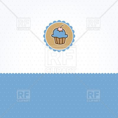 Blue polka dot background with small cupcake in frame