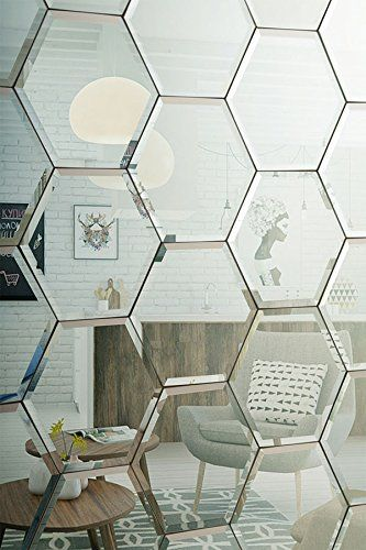 MY-furniture Hexagonal Silver Mirror Bevelled Wall Tiles for bedroom bathroom kitchen