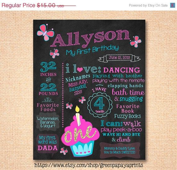 First birthday chalkboard. Printable. Cupcake theme birthday decoration. Custom colors. Pink, turquoise. Butterfly. Any age.