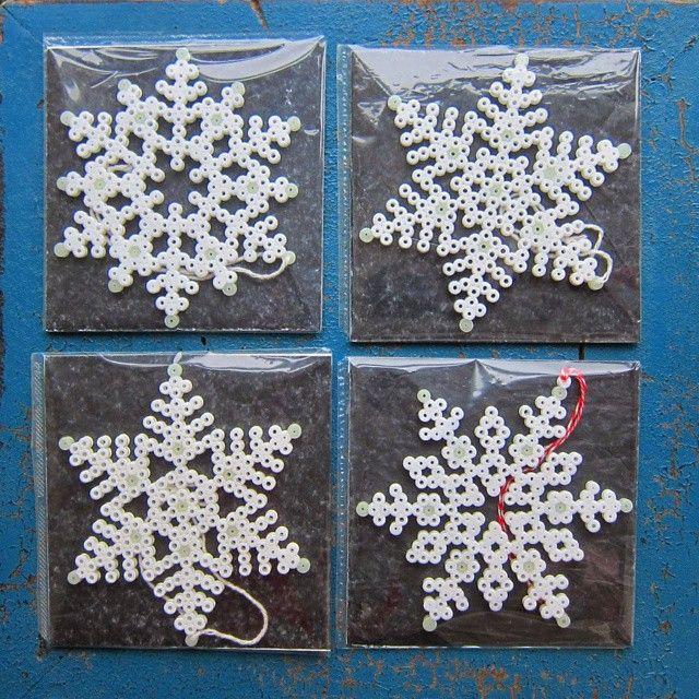 Snowflakes hama perler beads by zita_falk
