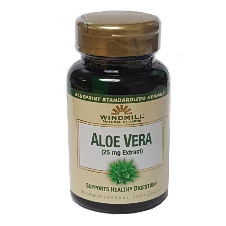 Windmill Natural Vitamins Aloe Vera 25mg Extract Herbal Supplement 60 Capsules