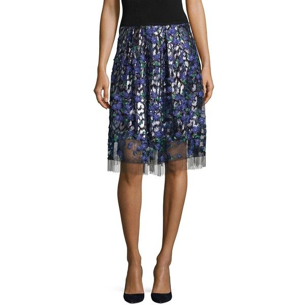 Elie Tahari Nicolette Floral Embroidered Skirt ($428) ❤ liked on Polyvore featuring skirts, elastic waist skirt, elie tahari skirt, elie tahari and lined skirt