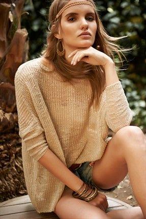 Dilvin- Kadınlar İçin Sofistike Parçalar - Bej Kazak 101A01232 %60 indirimle 19,99TL ile Trendyol da
