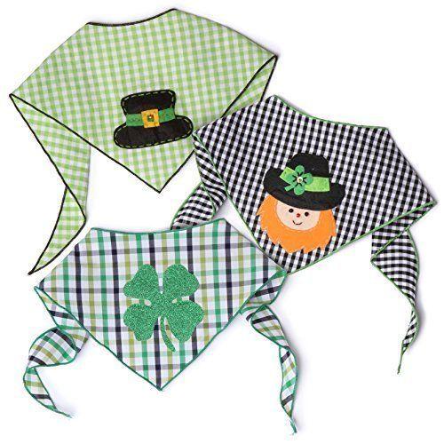 St Patrick's Day Irish Dog Bandana 3 Pack Shamrock 4 Leaf Clover 100% Cotton NEW #StPatrick
