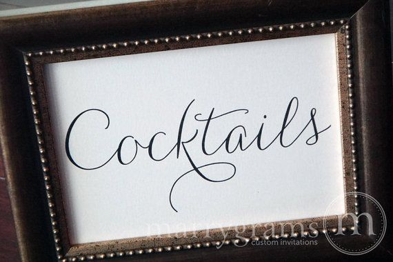 Cocktails Wedding Drinks Sign for Open Bar  Wedding by marrygrams, $4.00