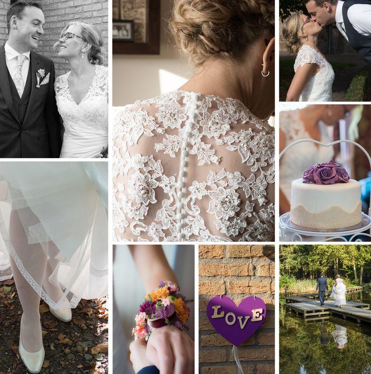 Sfeer collage Huwelijksdag Sjaak & Wendy Love styling bruidsjurk bloemen zwart wit fotografie Voorsterbos. Vollenhove kus