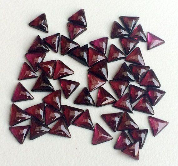25 Pcs Mozambique Garnet Trillion Cabochons Flat by gemsforjewels