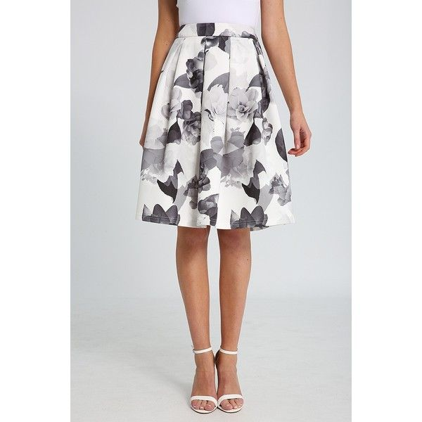 Ally Fashion Mono Floral Print Skater Midi Skirt ($27) ❤ liked on Polyvore featuring skirts, print, floral knee length skirt, calf length skirts, midi skirt, floral print midi skirt and print midi skirt