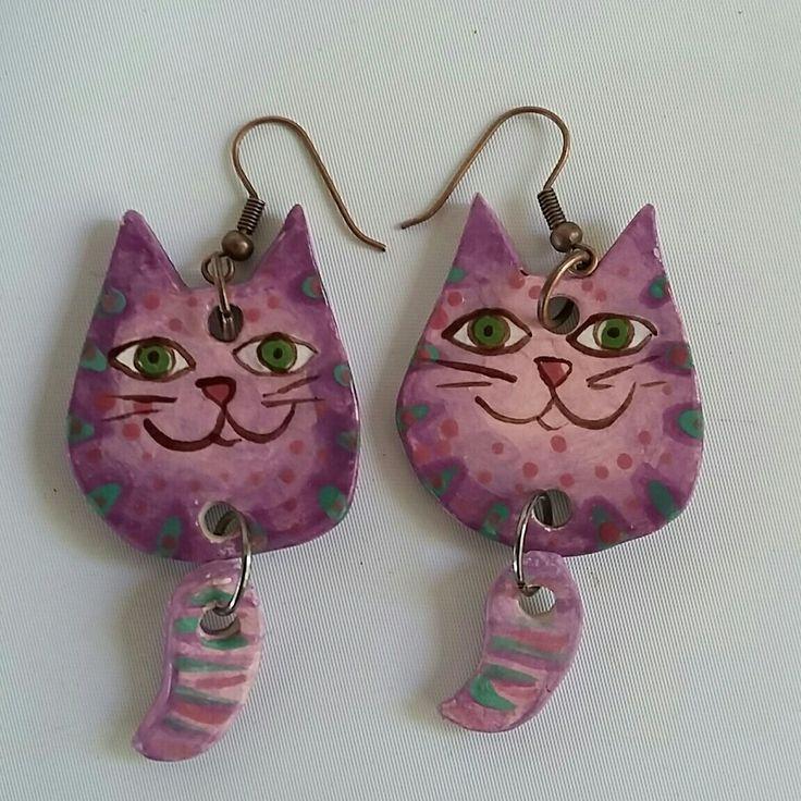 Ceramic Crazy Cat Earrings - Purple