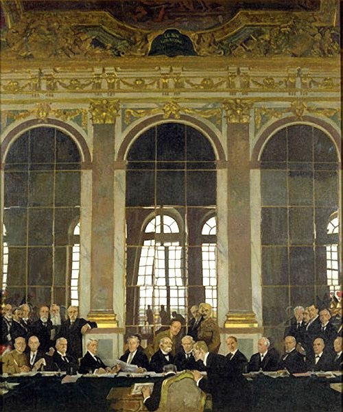 """Sir William Orpen (Irish, 1878-1931) """"Signing of the Peace Treaty in The Hall of Mirrors"""", Versailles"""