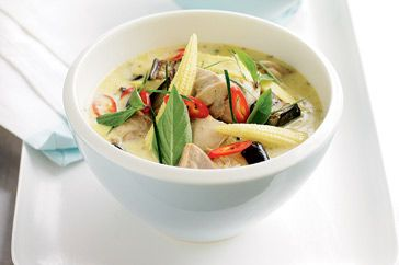 Thai green chicken curry (I just leave out the baby sweet corn)