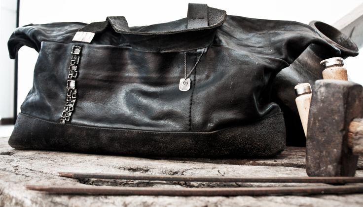 """""""CORNO NERO"""" leather and silver 925 BAG - brand DANIELE BASTA"""