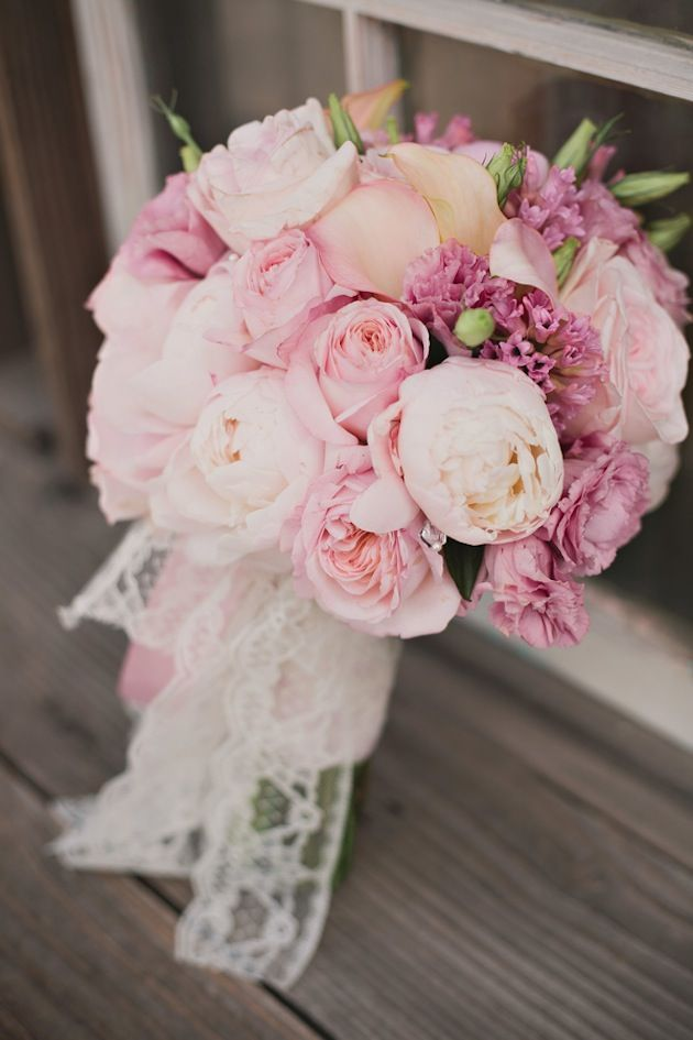 pink bouquet wrapped in lace | Victoria Greener Photography | Bridal Musings   read more here: http://bridalmusings.com/2013/09/fun-relaxed-rustic-wedding-in-a-little-white-chapel/
