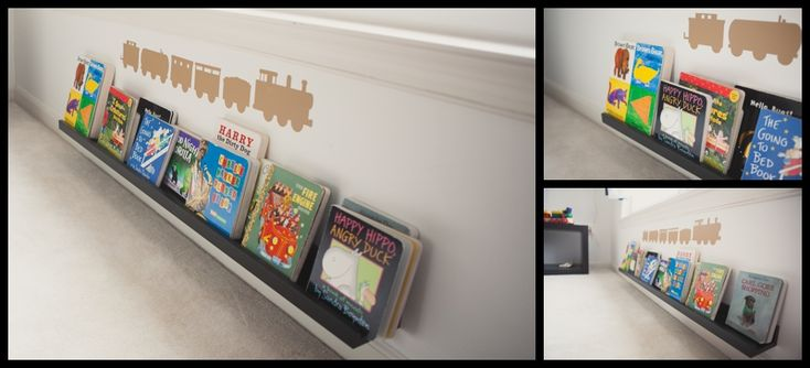 IKEA picture ledge  montessori room.... use a picture ledge for a matchbox car ramp.... just hang it at an angle?